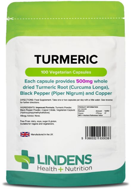Turmeric (Whole Root) 500mg + Black Pepper & Copper x 100 Veg-Capsules; Lindens